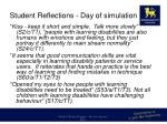 student reflections day of simulation