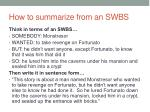 how to summarize from an swbs