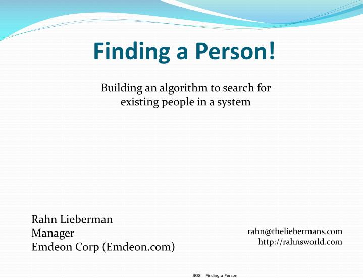 finding a person n.