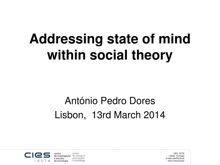 addressing state of mind within social theory n.