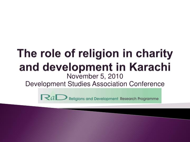 the role of religion in charity and development in karachi n.