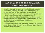 national crises and demands great depression