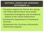 national crises and demands september 11