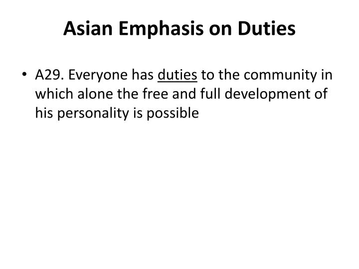 Asian Emphasis on Duties