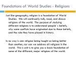 foundations of world studies religions