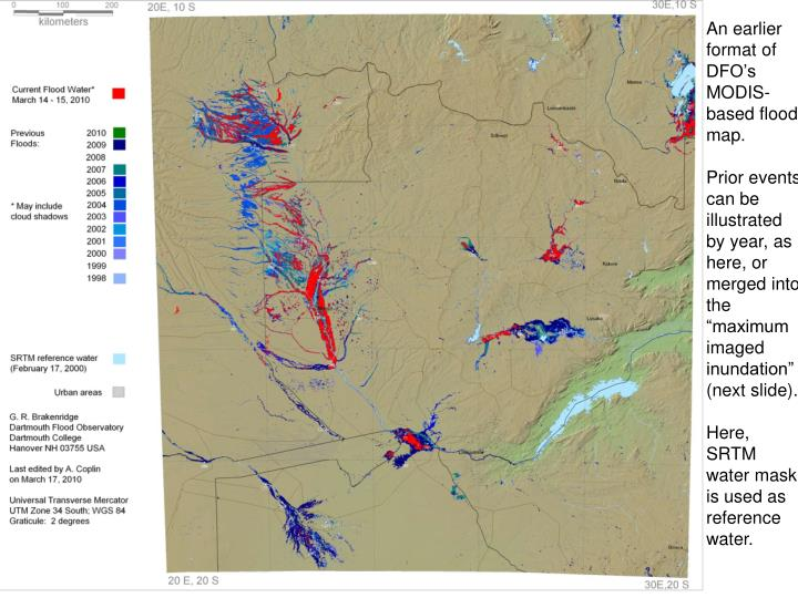 An earlier format of  DFO's MODIS-based flood map.