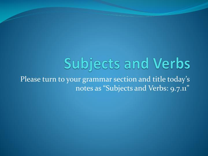subjects and verbs n.