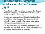 the liberal view of corporate social responsibility friedman 1983