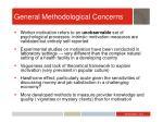 general methodological concerns