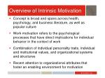 overview of intrinsic motivation
