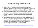 humanizing the course
