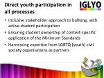 direct youth participation in all processes