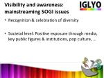 visibility and awareness mainstreaming sogi issues