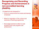 recognising and recording progress and achievement in non accredited learning rarpa