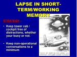 lapse in short term working memory