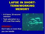 lapse in short term working memory1