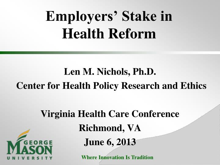 employers stake in health reform n.