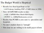 the budget world is skeptical