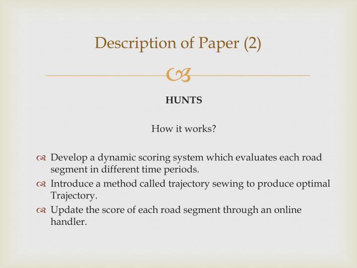 Description of Paper