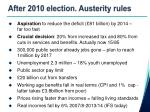 after 2010 election austerity rules