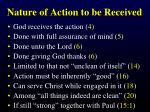 nature of action to be received