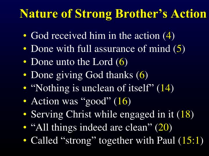 Nature of Strong Brother's Action