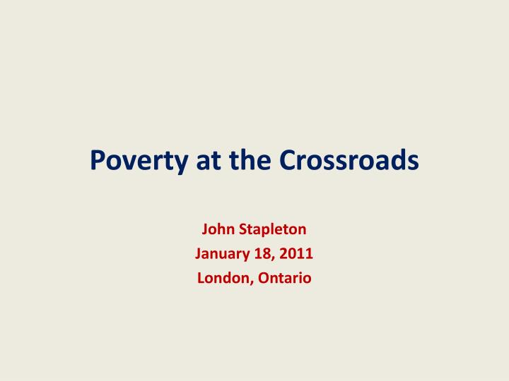 poverty at the crossroads n.