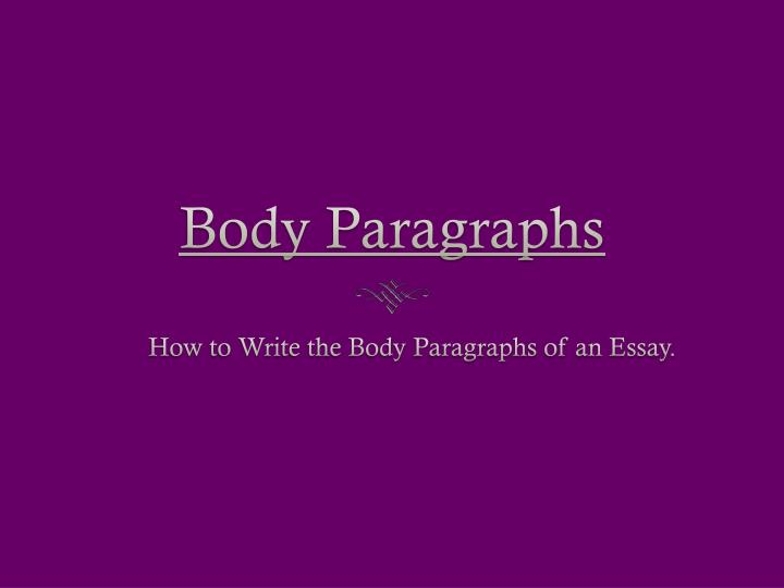 body paragraphs n.