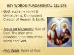 key words fundamental beliefs