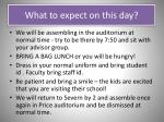 what to expect on this day