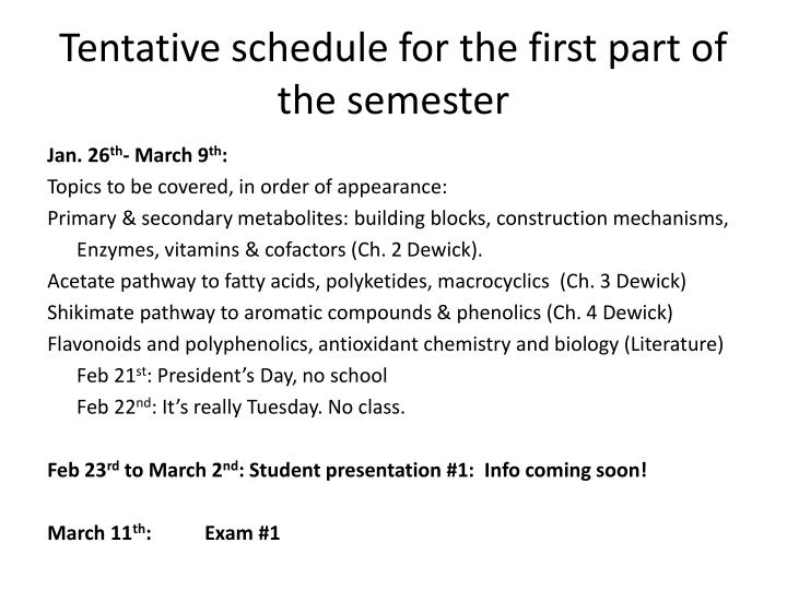 Tentative schedule for the first part of the semester