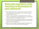 what is the importance of the yarra river to richmond in its early settlement