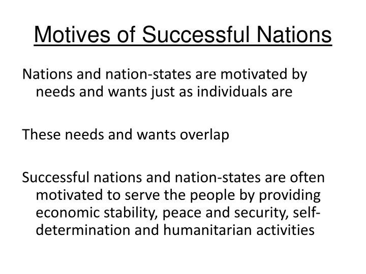 Motives of Successful Nations