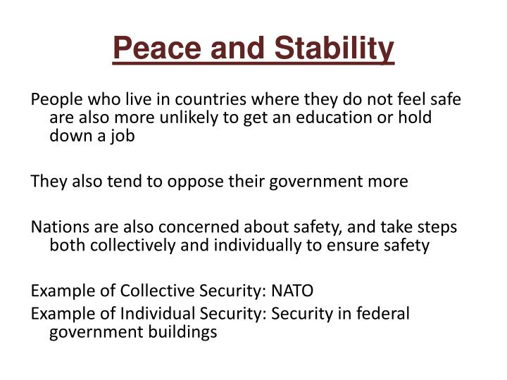 Peace and Stability