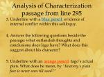 analysis of characterization p assage from line 295