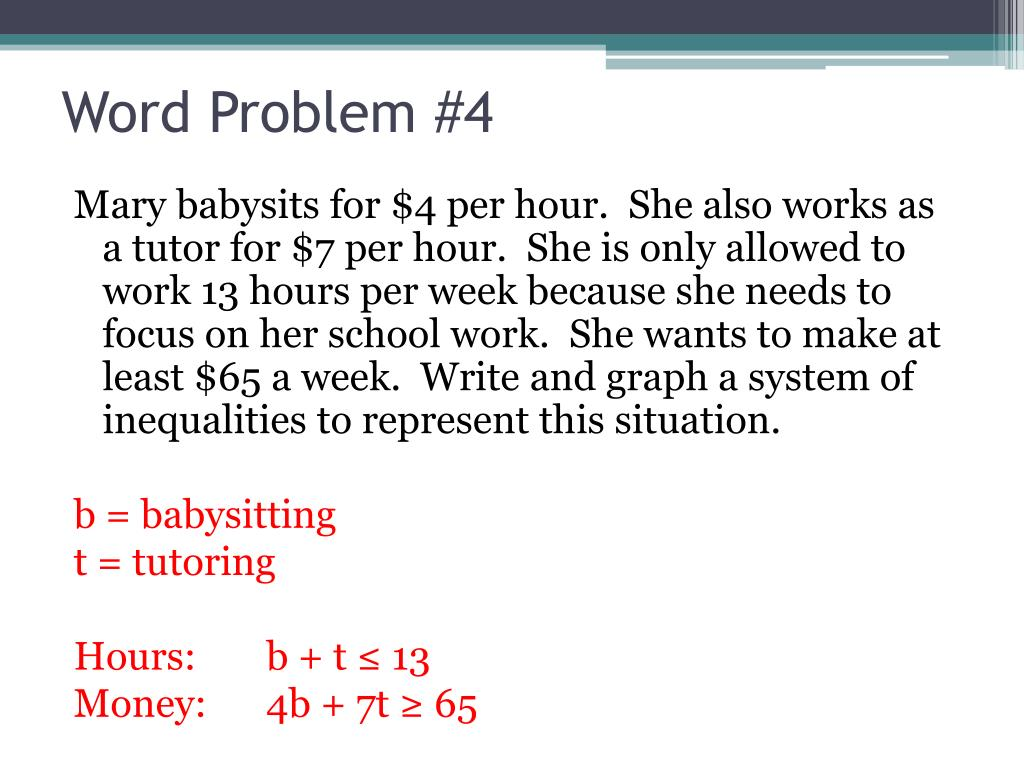 PPT   Systems of Linear Inequalities Word Problems ...