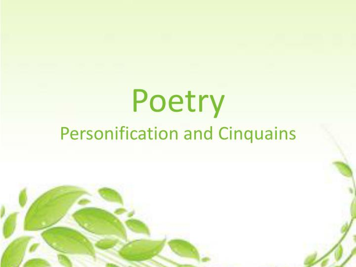 poetry personification and cinquains n.