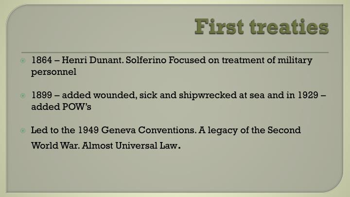 First treaties