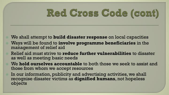 Red Cross Code (cont)