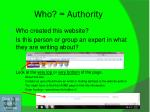 who authority