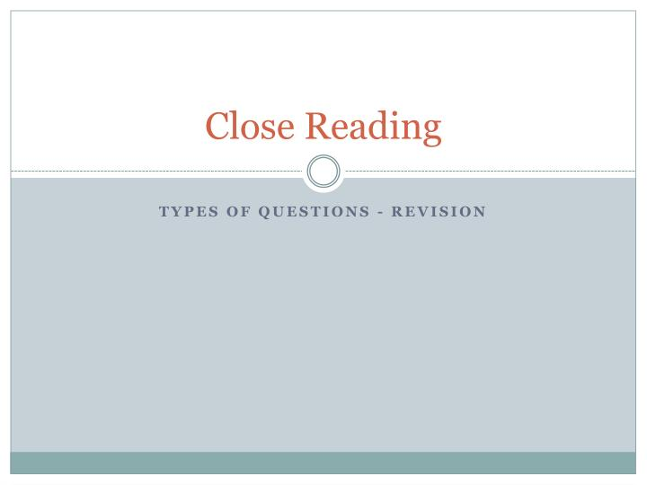 close reading n.