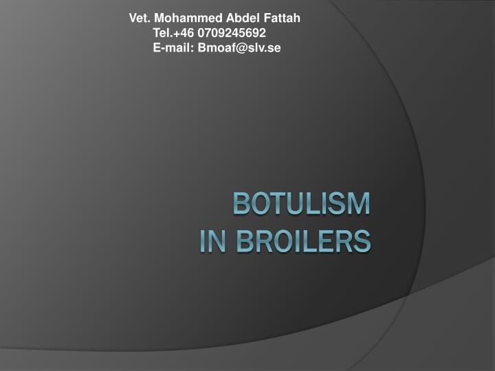 botulism in broilers n.