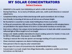 my solar concentrators salient features