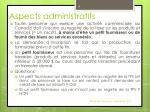 aspects administratifs