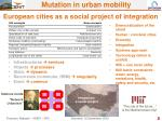 european cities as a social project of integration