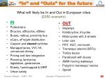 what will likely be in and out in european cities 2050 scenario