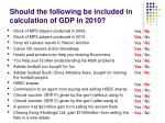 should the following be included in calculation of gdp in 2010