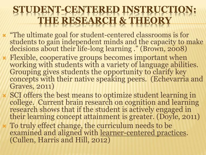 Student centered instruction the research theory