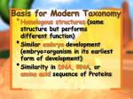 basis for modern taxonomy
