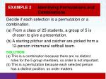example 2 identifying permutations and combinations1